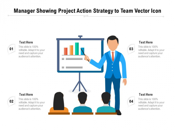 Manager Showing Project Action Strategy To Team Vector Icon Ppt PowerPoint Presentation Professional Layout PDF