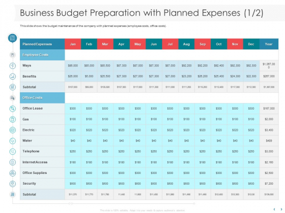 Managing CFO Services Business Budget Preparation With Planned Expenses Clipart PDF
