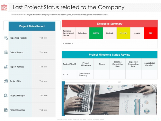 Managing CFO Services Last Project Status Related To The Company Ppt Ideas Layout Ideas PDF