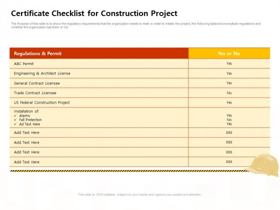 Managing Construction Work Certificate Checklist For Construction Project Ideas PDF