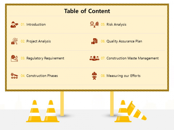 Managing Construction Work Table Of Content Ppt Professional Background Image PDF