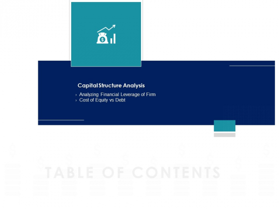 Managing Organization Finance Table Of Contents Capital Ppt File Portrait PDF