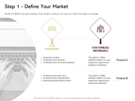 Managing Portfolio Growth Options Step 1 Define Your Market Ppt Outline Show PDF