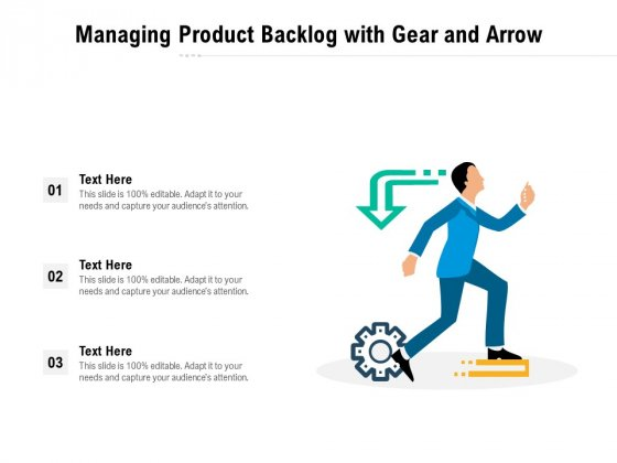 Managing Product Backlog With Gear And Arrow Ppt PowerPoint Presentation Inspiration Portrait PDF