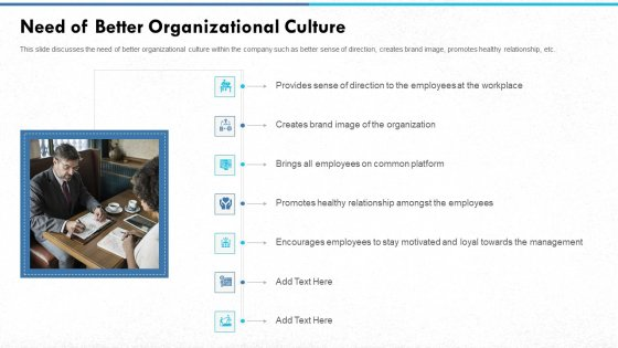 Managing Strong Company Culture In Business Need Of Better Organizational Culture Information PDF