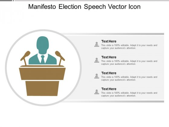 Manifesto Election Speech Vector Icon Ppt PowerPoint Presentation Layouts Rules