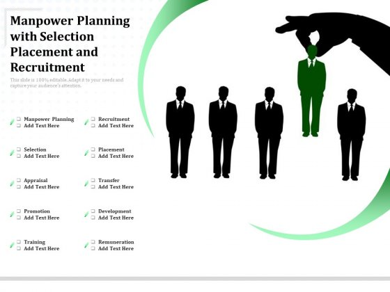 Manpower Planning With Selection Placement And Recruitment Ppt PowerPoint Presentation Icon Layout Ideas PDF