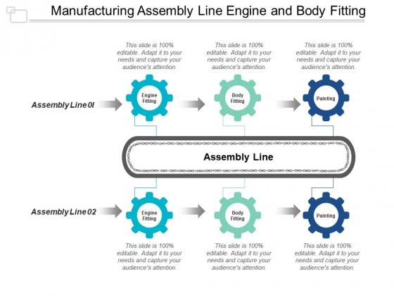 Manufacturing Assembly Line Engine And Body Fitting Ppt PowerPoint Presentation Infographics Demonstration