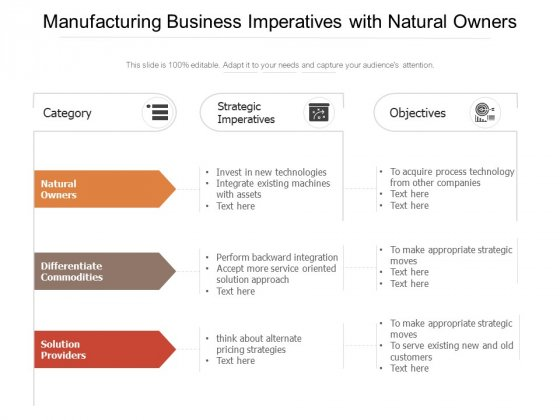 Manufacturing Business Imperatives With Natural Owners Ppt PowerPoint Presentation File Guidelines PDF