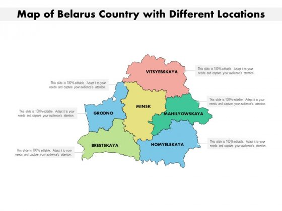 Map Of Belarus Country With Different Locations Ppt PowerPoint Presentation Styles Outfit