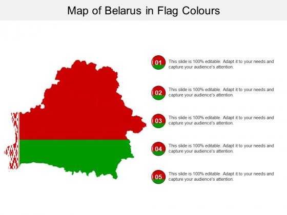 Map Of Belarus In Flag Colours Ppt PowerPoint Presentation Layouts Example