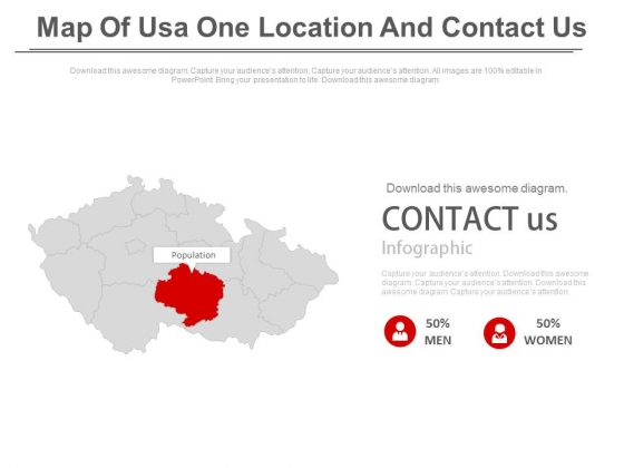 Map Of Usa With Contact Us Text Powerpoint Slides - PowerPoint Templates