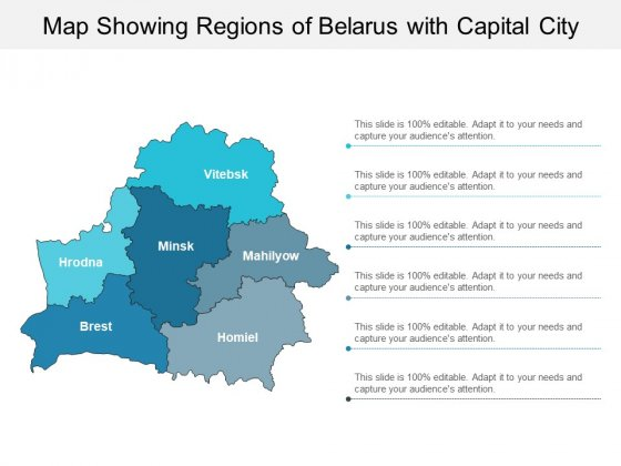 Map Showing Regions Of Belarus With Capital City Ppt PowerPoint Presentation Professional Outline