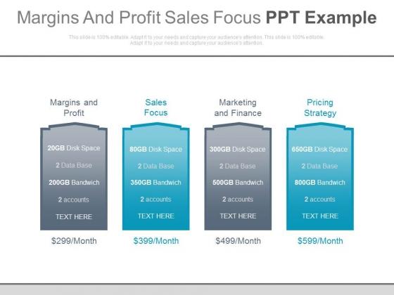 Margins And Profit Sales Focus Ppt Example