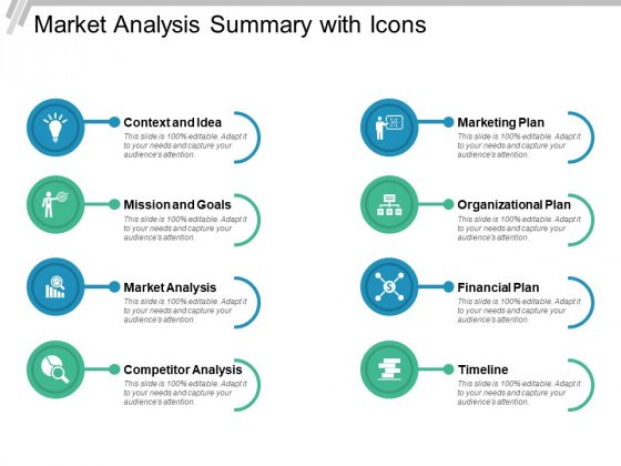 Market Analysis Summary With Icons Ppt Powerpoint Presentation Layouts Topics
