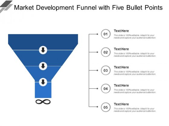 Market Development Funnel With Five Bullet Points Ppt PowerPoint Presentation Outline Example File