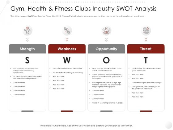 Market Entry Strategy In Gym Health Fitness Clubs Industry SWOT Analysis Icons PDF