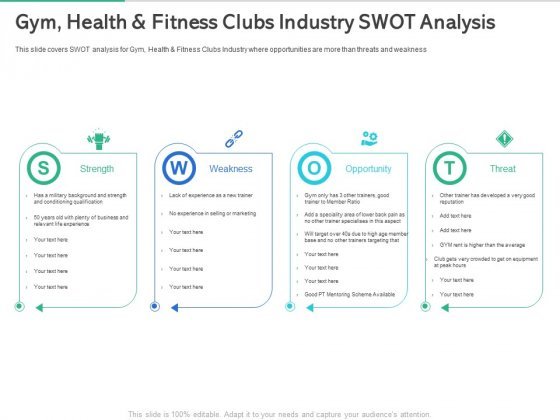 Market Overview Fitness Industry Gym Health And Fitness Clubs Industry SWOT Analysis Template PDF