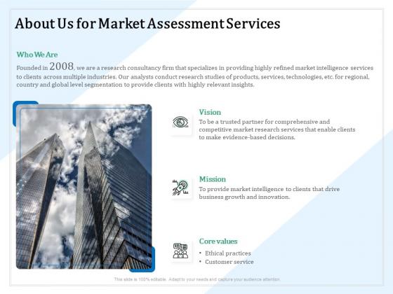 Market Research About Us For Market Assessment Services Ppt PowerPoint Presentation Ideas Design Ideas PDF
