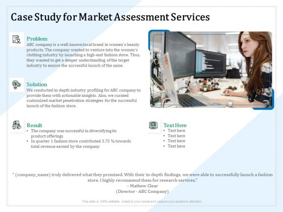 Market Research Case Study For Market Assessment Services Ppt PowerPoint Presentation Portfolio Graphic Images PDF