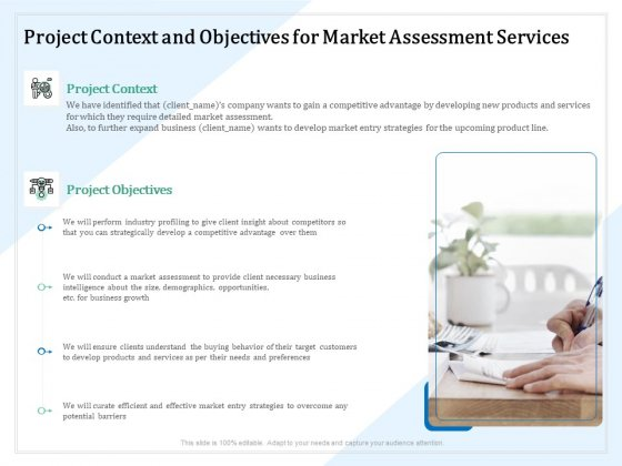 Market Research Project Context And Objectives For Market Assessment Services Ppt PowerPoint Presentation Outline Slides PDF