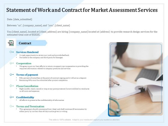 Market Research Statement Of Work And Contract For Market Assessment Services Ppt PowerPoint Presentation Show Portrait PDF