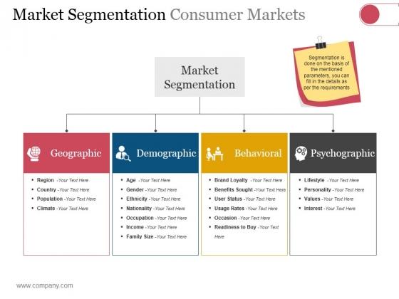Market Segmentation Consumer Markets Ppt PowerPoint Presentation Portfolio Show