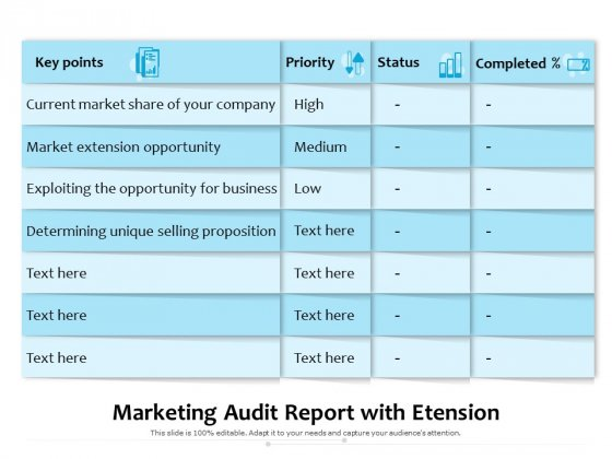 Marketing Audit Report With Etension Ppt PowerPoint Presentation Gallery Design Templates PDF