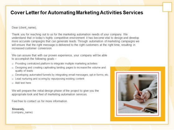 Marketing Automation Cover Letter For Automating Marketing Activities Services Formats PDF