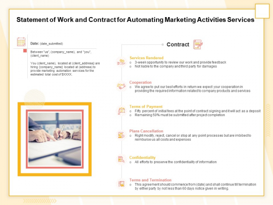 Marketing Automation Statement Of Work And Contract For Automating Marketing Activities Services Clipart PDF