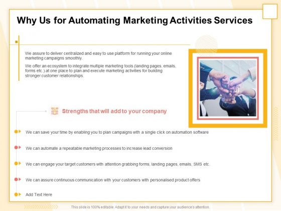 Marketing Automation Why Us For Automating Marketing Activities Services Designs PDF