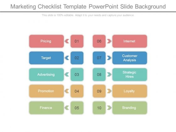 Marketing Checklist Template Powerpoint Slide Background