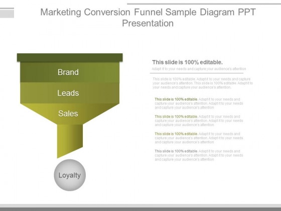 Marketing Conversion Funnel Sample Diagram Ppt Presentation