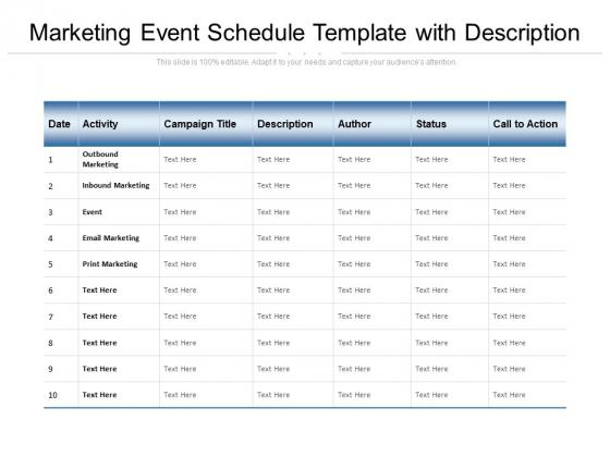 Marketing Event Schedule Template With Description Ppt PowerPoint Presentation Slides Influencers