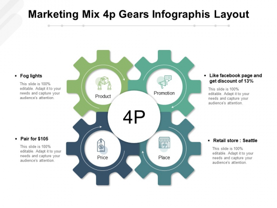 Marketing Mix 4P Gears Infographis Layout Ppt PowerPoint Presentation File Slides PDF