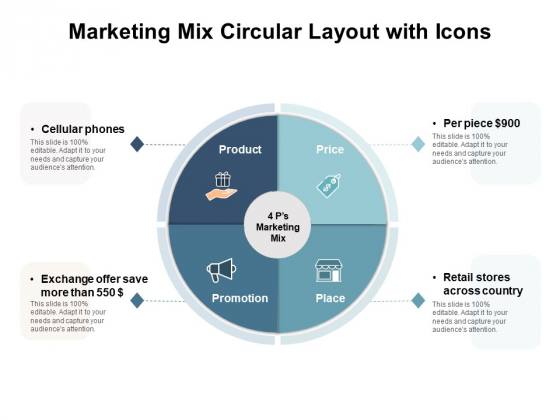 Marketing Mix Circular Layout With Icons Ppt PowerPoint Presentation Model Layouts PDF