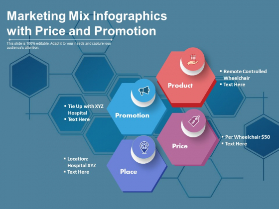 Marketing Mix Infographics With Price And Promotion Ppt PowerPoint Presentation File Deck PDF