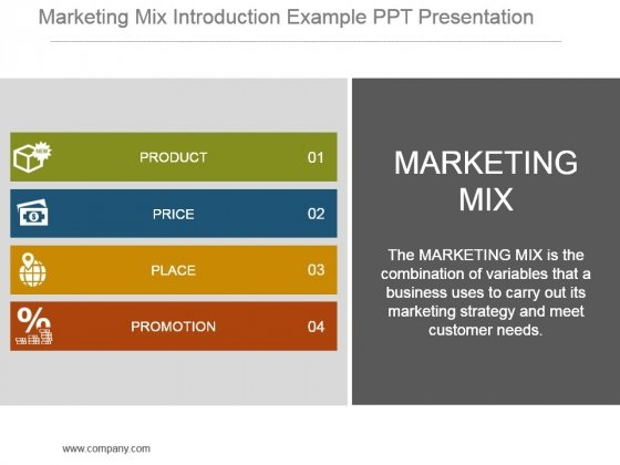 marketing mix introduction example ppt presentation powerpoint