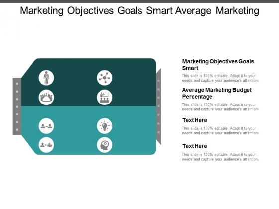 marketing objectives goals smart average marketing budget percentage ppt powerpoint presentation inspiration vector