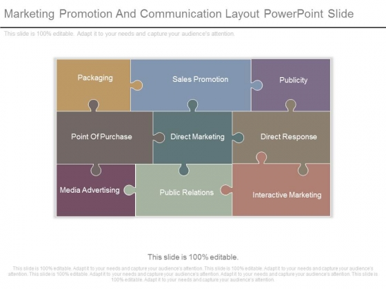 Marketing Promotion And Communication Layout Powerpoint Slide