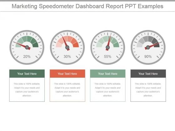 Marketing Speedometer Dashboard Report Ppt PowerPoint Presentation Designs Download