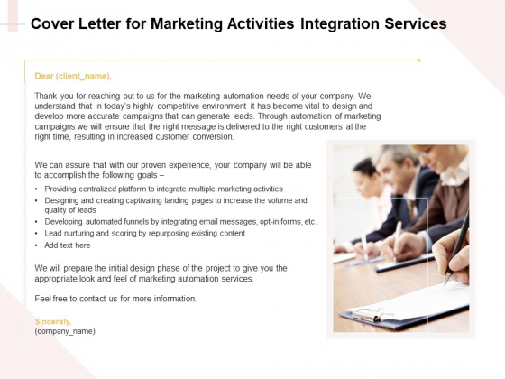 Marketing Strategy Cover Letter For Marketing Activities Integration Services Microsoft PDF