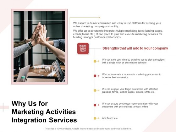 Marketing Strategy Why Us For Marketing Activities Integration Services Pictures PDF