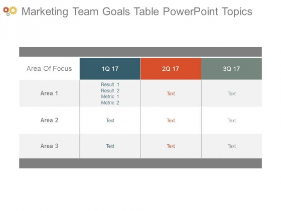 Marketing Team Goals Table Powerpoint Topics