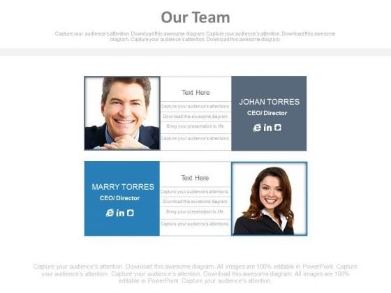 Marketing Team Member Profile Information Powerpoint Slides