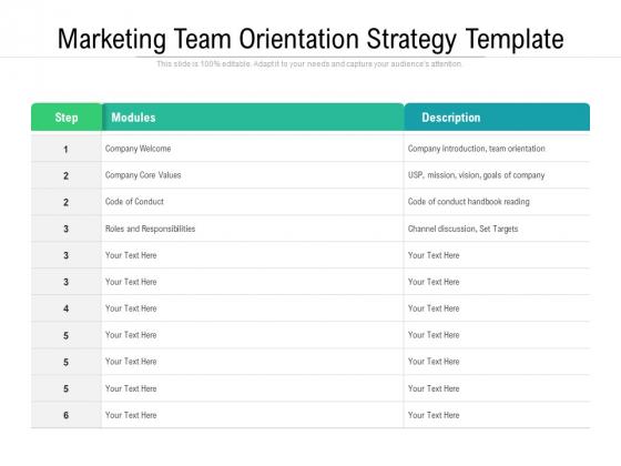 Marketing Team Orientation Strategy Template Ppt PowerPoint Presentation Professional Clipart PDF