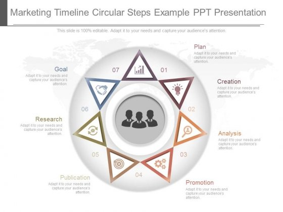 Marketing Timeline Circular Steps Example Ppt Presentation