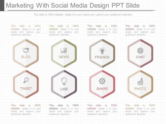 Marketing With Social Media Design Ppt Slide