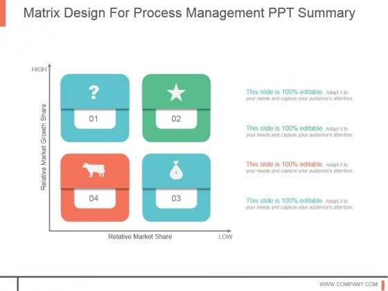 Matrix Design For Process Management Ppt Summary