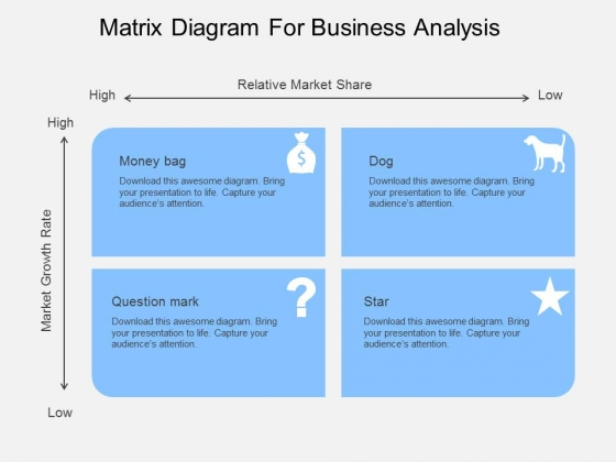 Matrix Diagram For Business Analysis Powerpoint Template